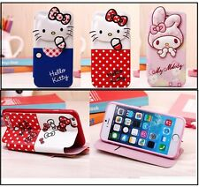 Cute Hello Kitty & Melody PU Leather Flip Wallet Cover case For iPhone 6/6s Plus