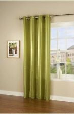 """NEW GREEN FAUX SILK SINGLE CURTAIN PANEL 66"""" X 90"""" WITH STEEL RING TOP EYELET"""