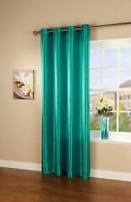"""NEW TEAL FAUX SILK SINGLE CURTAIN PANEL 66"""" X 90"""" WITH STEEL RING TOP EYELET"""