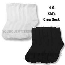 3 6 12 Pairs Kid's 4-6 Crew High Casual Sports Socks Black White Boy's Girl's