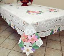 Hawaiian Flower Embroidered Battenburg Lace with Sheer Tablecloth OB White/Ivory