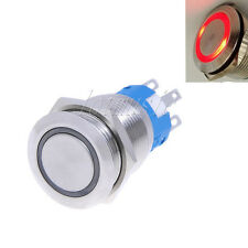 19mm 12V * RED* Led Stainless Switch 5 Pins Momentary Push Button Waterproof