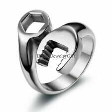 Silver-tone Stainless Steel Biker Mechanic Wrench Ring Mens Boys Band Cool Gift