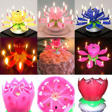 Beautiful Flower Magical Blossom Lotus Happy Birthday Candle 3 Colors