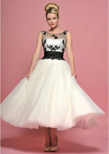 New Tea length 1950s style Black lace white ivory tulle party Prom dresses