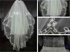 New Style 2T White/Ivory Wedding Veil+Combs