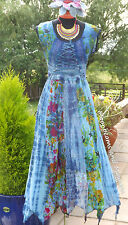 ♥ ~ ENCHANTING NEW BLUE DRESS SIZE UK 10 12 14 16 HIPPIE FESTIVAL BOHO TIE DYE