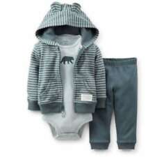 Carter's 3 6 9 12 M Cardigan Ear Hoodie BEAR gray Bodysuit Set Baby Boy Clothes