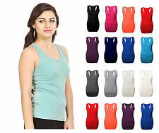 LADIES WOMENS RACER BACK TOP MUSCLE VEST TOP BODYCON GYM TOP VEST TOP SIZE 8-26