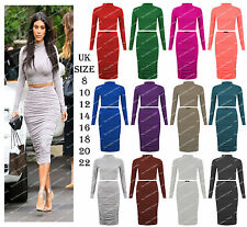 Women Celeb Kim Two Piece Suit Polo High Neck Crop Top Midi Skirt Ladies Outfit