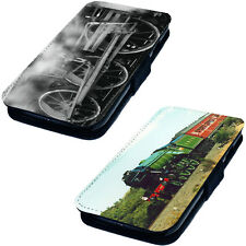 Trains - Printed Faux Leather Flip Phone Cover Case