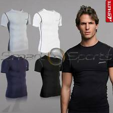 ATHLETE Mens Basic Lightweight Compression Sports Plain Short Sleeve Top Skins
