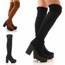 LADIES WOMENS OVER THE KNEE BOOTS PLATFORM CHUNKY STRETCH BLACK SHOES SIZE