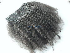 clips in hair extension human hair afro curl weaves virgin natural black 1 set