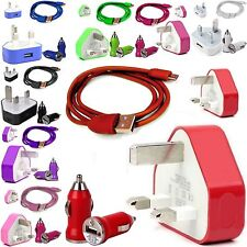 CE COLOUR PLUG  MAINS USB CHARGER+BULLET+CABLE FOR LATEST MOBILE PHONES