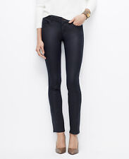 Ann Taylor Petite Prussian Blue THE SKINNY MODERN FIT Coated Low Rise Jeans $98