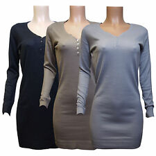 In Extenso Ladies Long Knitted Dress with Round Neck and Button Placket