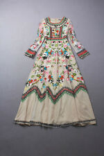 Designer Applique VINTAGE FLORAL HEAVILY EMBROIDERED Gown Dresses long Vestidos