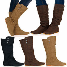 Eileen Womens Flat 3 Button Mid Calf Boots Biker Slouch Pull On Ladies Shoes D2Y