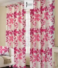 FULLY LINED RING TOP EYELET PINK PAIR OF FLOWER CURTAINS ALL SIZES FREE TIEBACKS