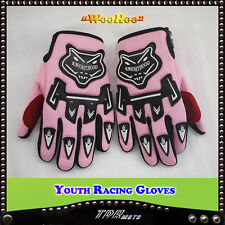 PINK YOUTH RACING GLOVES MOTORCYCLE MOTOCROSS MX ATV QUAD DIRT/PITBIKE GIRLS KID