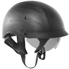 Outlaw T72 DOT Black Leather Drop Visor (Smoke) Motorcycle Skull Cap Half Helmet