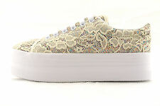 Jeffrey Campbell Zomg cream glitter sneakers donna in pizzo beige con glitter