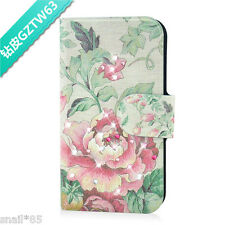 diamond flower green leaf PU Leather Flip Case Cover For LG Google Mobile 63