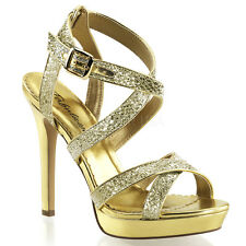 "PLEASER Shoes Sexy Strappy Criss Cross Gold Glitter Sandals 4 3/4"" High Heels"