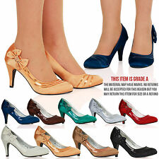 Victoria Womens Bow Satin Mid High Heel Formal Party Shoes Ladies Shoes Size New