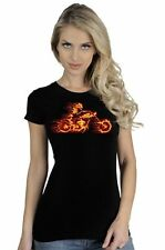 Women's Flaming Motorcycle Flames Fire Biker Chick Skeleton T-Shirt
