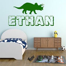 TRICERATOP Dinosaur Personalised ANY NAME Boys Bedroom Wall Art Sticker Decal #2