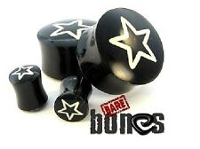 """Bare Bones Pair of Organic Buffalo Horn Plugs 10mm to 7/8"""" [Select Your Size]"""