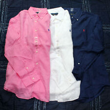Mens Polo Ralph Lauren Long Sleeve Classic Fit Buttondown Linen Shirt S M L XL