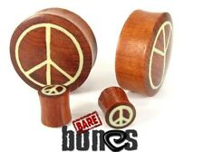 "Bare Bones Pair of Organic Blood Wood Plugs 6G to 1 1/8"" [Select Your Size]"