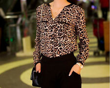New Women V neck Long-sleeve top shirt Fashion Wild Leopard print chiffon blouse