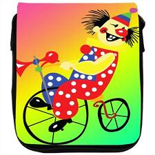 Grinning Clown Riding Bicycle With Red Nose Black Shoulder Bag