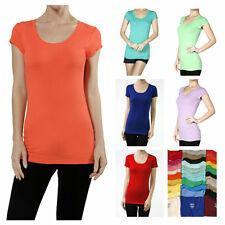 Women Essential Basic Cotton T-Shirts Casual Short Sleeve Top Scoop Neck Solid