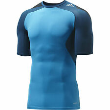 ADIDAS MENS TECHFIT RUNNING FITNESS GYM COMPRESSION SHORT SLEEVE T SHIRT TOP