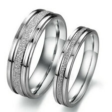 Titanium Stainless Steel Frosted Promise Ring Wedding Bridal Bands Comfort Fit