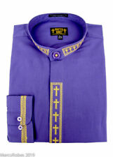 NEW Men's Purple w/Gold Cross Embroidery Neckband Clerical Clergy Shirt, Pastor