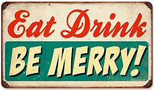 Vintage Retro Eat Drink Be Merry Metal Sign Shop Cafe Diner Restaurant Decor RPC