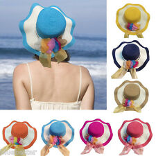 Women Beach Straw Hat Summer Large Brim Floppy Sun Cap Floral Patchwork Casual