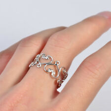925 Sterling Silver Band Long Ring Thumb Hollow Heart Jewellry Size8