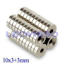 5/10/25/50/100 X N50 Magnet 10x3mm with 3mm Hole Rare Earth Neodymium Magnet 740
