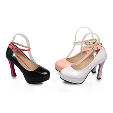 Women Ladies Comfort High Heels Classics Casual Ankle-Strap Shoes US Size CHH436