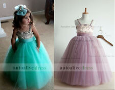 Beaded Satin Tulle Tutu Flower Girl Dresses Kids Girl Junior Bridesmaid Dresses