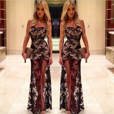 Womens Ladies Evening Long Lace Dress Ball Gown Sequin Wedding Prom Formal Black