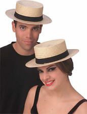 Adult Straw Skimmer Hat Sailor Boater Captains Costume Fancy Dress Medium Large
