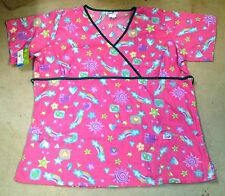 "Women's Plus Size ""Stars & Rainbows"" Scrub Top"